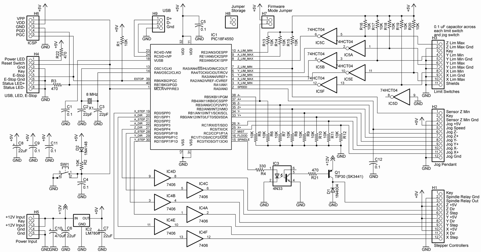 CNC Machine – markwtech on cnc parallel port controller schematic, usb keyboard schematic, usb power supply schematic,